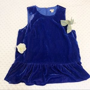 J. Crew Blue Velvet Tank Top with Peplum